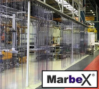 PVC Streifenvorhang mit Streifen in 400mm 4mm 400x4mm von Marbex®