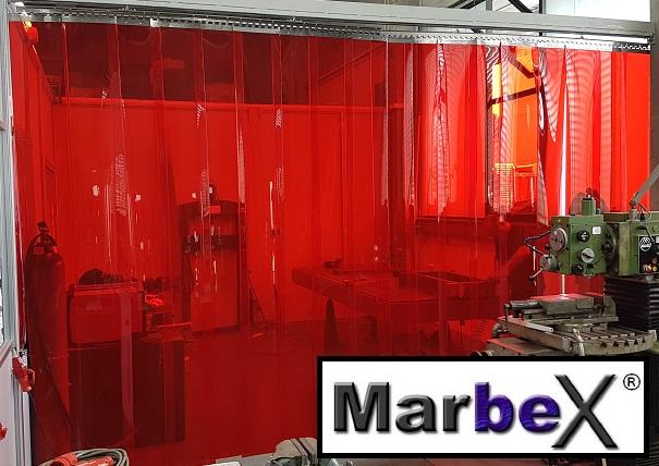Schweißerschutzvorhang PVC Vorhang Streifenvorhang für schweißer in Rot Transparent von Marbex®