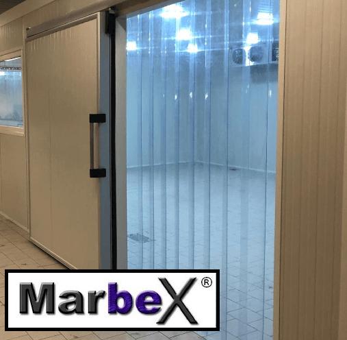 Streifenvorhang PVC Vorhang Tiefkühlzelle Tiefkühlhaus 300mm 3mm 300x3mmvon Marbex®