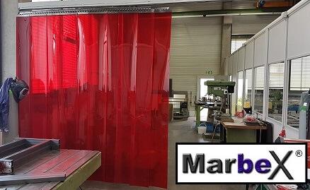 Schweißerschutz Rot Transparent Vorhang aus Streifen Lamellen als Schweißerschutzvorhang